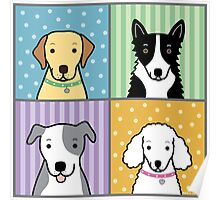 Four Dogs Square Poster