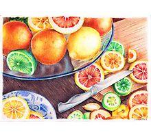 Delicious citruses on the desk Photographic Print