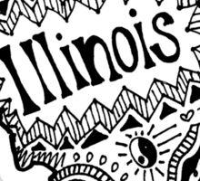 Hipster Illinois Outline Sticker