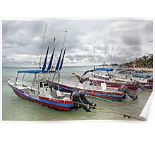 Boats in Playa del Carmen, Mexico Poster