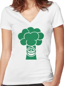 Funny broccoli face Women's Fitted V-Neck T-Shirt