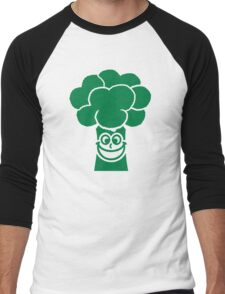 Funny broccoli face Men's Baseball ¾ T-Shirt