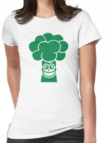 Funny broccoli face Womens Fitted T-Shirt