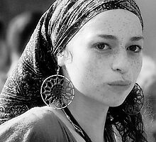 Gypsy Eyes - Portrait in Black and White  by Judith Oppenheimer