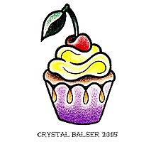 Cute little cupcake traditional tattoo design Photographic Print