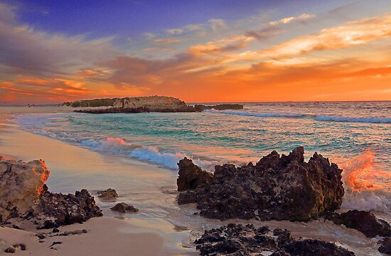 Trigg Beach At Sunset  by EOS20