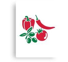 Vegetables tomato olive bell pepper chili Canvas Print