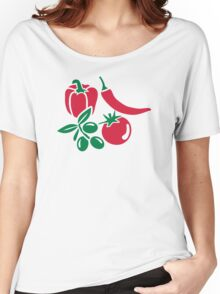Vegetables tomato olive bell pepper chili Women's Relaxed Fit T-Shirt