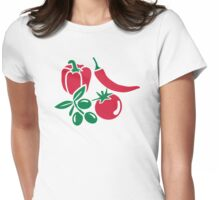 Vegetables tomato olive bell pepper chili Womens Fitted T-Shirt