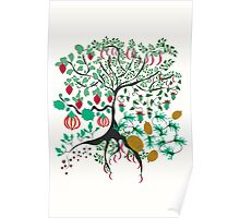 Fairy floral pattern garden with plants, tree and flowers Poster
