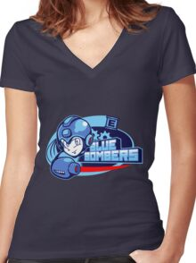 Blue Bombers Women's Fitted V-Neck T-Shirt
