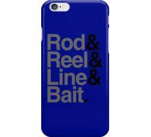 Rod & Reel & Line & Bait. iPhone Case/Skin