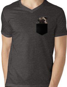 Pug Pocket Mens V-Neck T-Shirt