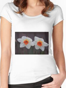 White Daffodils  Women's Fitted Scoop T-Shirt
