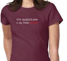 (F) Soy venezolana y de paso gocha - letras blancas y rojas Womens Fitted T-Shirt