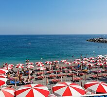 Parasols of Amalfi Beach by George Oze