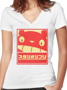 Ghibli Women's Fitted V-Neck T-Shirt