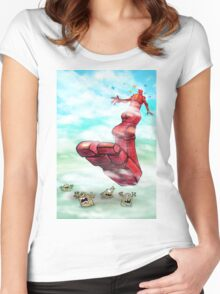 Oblivio, The Big, Red, Robot. Women's Fitted Scoop T-Shirt