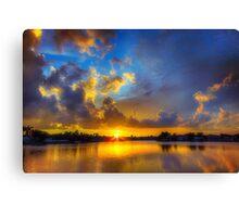 Winter warmth in blue & gold Canvas Print