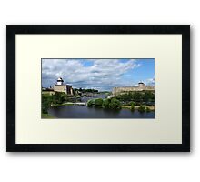 confrontation medieval fortress of Narva and Ivangorod fortress Framed Print