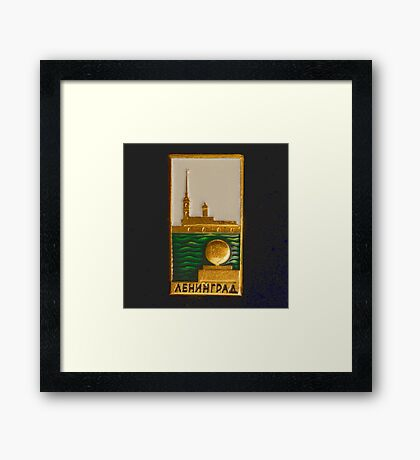 Soviet badge with the inscription Leningrad Framed Print