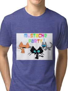 Mustache Party with Kitties Tri-blend T-Shirt