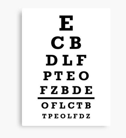 Eye chart test Canvas Print