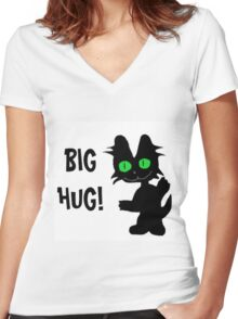 Kitty Gives Big Hugs Women's Fitted V-Neck T-Shirt