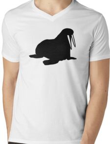 Black walrus Mens V-Neck T-Shirt