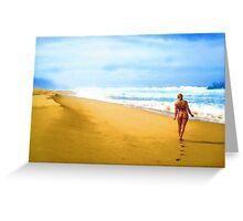 Walking along the beach Greeting Card