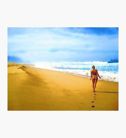 Walking along the beach Photographic Print