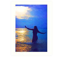 Swimming in the evening ocean Art Print