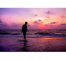 A Boy And A Sunset Photographic Print
