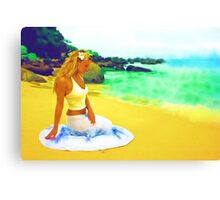 Sitting on the beach Canvas Print