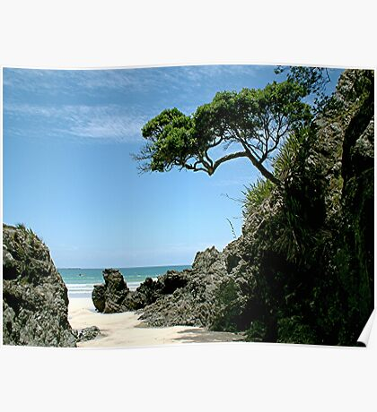 The lonely Pohutukawa tree........ Poster