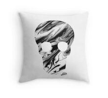 Mono-Marble Skull Throw Pillow