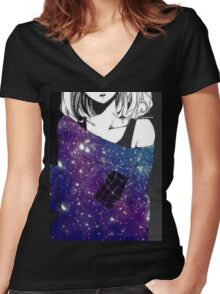 Anime Galaxy girl Women's Fitted V-Neck T-Shirt