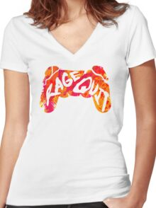 Rage Quit Women's Fitted V-Neck T-Shirt