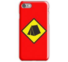 Yellow WARNING sign tent (CAMPING) iPhone Case/Skin