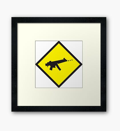 Yellow WARNING sign digital gamer machine gun Framed Print