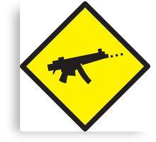 Yellow WARNING sign digital gamer machine gun Canvas Print