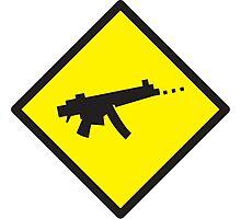 Yellow WARNING sign digital gamer machine gun Photographic Print