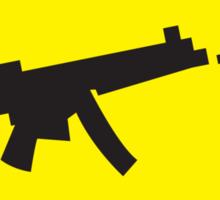 Yellow WARNING sign digital gamer machine gun Sticker