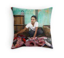 Bagan fish market, Burma Throw Pillow