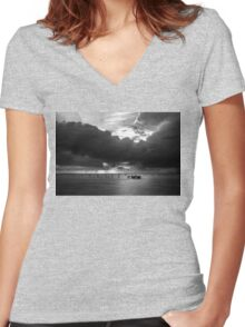 Dawn Cloudscape in Monochrome Women's Fitted V-Neck T-Shirt