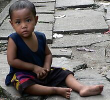 Rangoon street urchin by John Mitchell