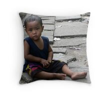Rangoon street urchin Throw Pillow