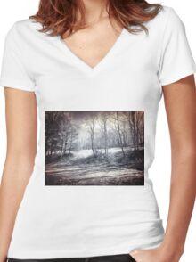 Scenic Beauty Women's Fitted V-Neck T-Shirt