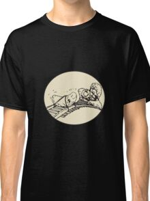 Date Fruit Tied Rail Track Train Coming Oval Classic T-Shirt