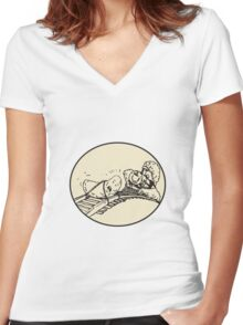 Date Fruit Tied Rail Track Train Coming Oval Women's Fitted V-Neck T-Shirt